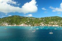 Sailboats anchored in St. Thomas Royalty Free Stock Photo