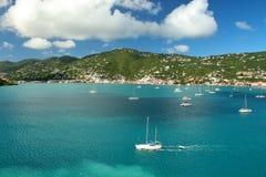 Sailboats anchored in St. Thomas Stock Photography