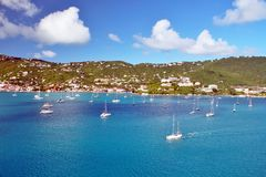 Sailboats anchored in St. Thomas Royalty Free Stock Images