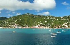 Sailboats anchored in St. Thomas Royalty Free Stock Image