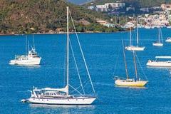 Sailboats anchored in St. Thomas Harbor Stock Photo