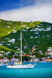 Sailboats anchored in St. Thomas Harbor. Caribbean stock photo
