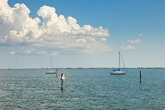 Sailboats Anchored in Tampa Bay, Florida Royalty Free Stock Image