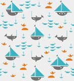 Sailboats with anchors, sharks, fish and sea gulls Stock Photos