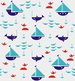 Sailboats with anchors, sharks, fish and sea gulls Royalty Free Stock Images