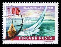 Sailboats at Balatonalmadi, Lake Balaton serie, circa 1968. MOSCOW, RUSSIA - SEPTEMBER 15, 2018: A stamp printed in Hungary shows Sailboats at Balatonalmadi stock images