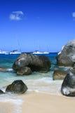 Sailboats at the Baths, Virgin Gorda. Stock Photo