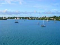 Sailboats Bay. Photography. Sailboats floats near coastline stock images