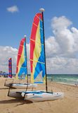 Sailboats on the beach Stock Images
