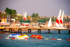 Sailboats at the beach in Antalya, Turkey Royalty Free Stock Image