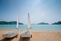 Sailboats on beach Royalty Free Stock Photography