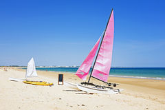 Sailboats at the beach in Portugal Stock Photo