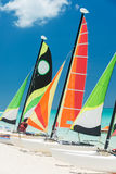 Sailboats on a beautiful beach in Cuba Royalty Free Stock Image