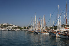 Sailboats in Bodrum Marina. Mugla City, Turkey Royalty Free Stock Photography