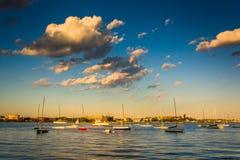 Sailboats in the Boston Inner Harbor, Boston Massachusetts. Stock Photos