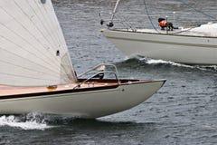 Sailboats bows Stock Images