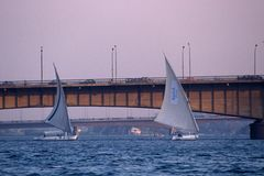 Sailboats and bridges on the River Nile. Stock Images