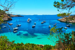 Sailboats at Cala Salada lagoon. Ibiza, Spain Royalty Free Stock Photo