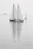 Sailboats calm water fog royalty free stock photography
