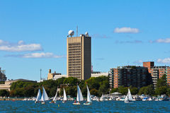 Sailboats on the Charles River, Boston, MA. Stock Images