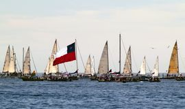 Sailboats and chilean flag Royalty Free Stock Images