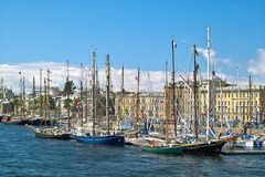 Sailboats in the city Royalty Free Stock Photo
