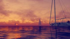 Sailboats at cloudy sunset Royalty Free Stock Photo