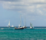 Sailboats competing in an annual competition in the grenadines Stock Photos