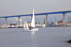 Sailboats & the Coronado bridge. Royalty Free Stock Photography