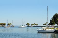 Sailboats in a cove Royalty Free Stock Photo