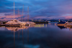 Sailboats at dawn Royalty Free Stock Images