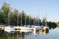 Sailboats at the dock. The sailboats at the lake, with their reflections on the blue water Royalty Free Stock Photo