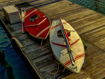 Sailboats on dock royalty free stock image