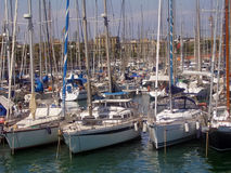 Sailboats at docks. Sailboats at the docks in Barcelona stock photo