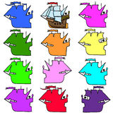 Sailboats doodle vector Stock Images