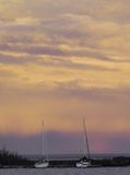 Sailboats at dusk stock image