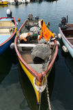 Sailboats and fishing boats in Lazise on The Garda Lake Stock Images