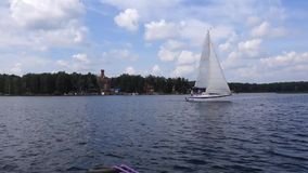 Sailboats floating in the clouds. stock video footage