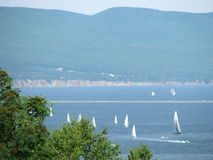Sailboats in Gaspe, Quebec. Sailboats in Gaspe, Quebec, on Gaspé bay Royalty Free Stock Image