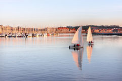 Sailboats in Getxo Stock Image