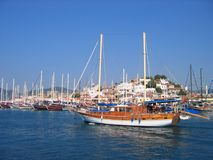 Sailboats in harbor. Turkey Marmaris Royalty Free Stock Photography