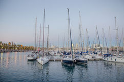 Sailboats in harbor. In Barcelona royalty free stock photo