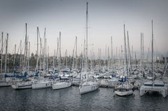 Sailboats in harbor. In Barcelona royalty free stock photography