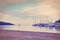 Sailboats in the harbor-color effect Royalty Free Stock Photo
