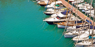 Sailboats in the harbor of Fontvieille, Monaco Royalty Free Stock Photography