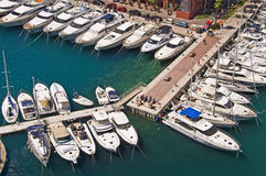 Sailboats in the harbor of Fontvieille, Monaco principality Royalty Free Stock Image