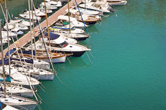 Sailboats in the harbor of Fontvieille, Monaco Stock Images