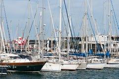 Sailboats in harbor Stock Photo