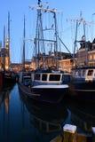 Sailboats in harbor at Hoorn, Netherlands. Royalty Free Stock Image
