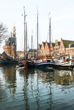 Sailboats in harbor at Hoorn, Netherlands. Stock Photography